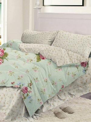 Комплект постельного белья 1.5сп. Dream time. Цвет: светло-зеленый, молочный, розовый