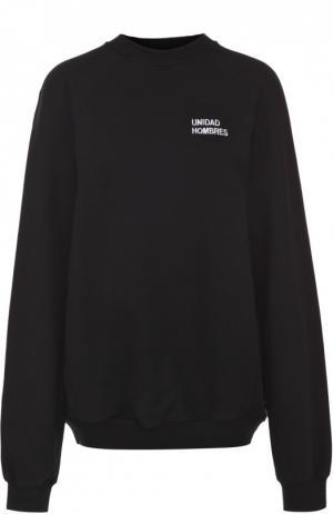 Хлопковый пуловер свободного кроя с контрастной вышивкой Vetements. Цвет: черный