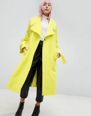 ASOS Пальто с поясом. Цвет: зеленый