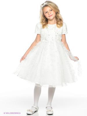 Платье праздничное для девочек + болеро Perlitta. Цвет: белый