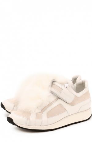 Кожаные кроссовки с меховой отделкой Pierre Hardy. Цвет: белый