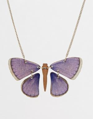 Tatty Devine Ожерелье с бабочкой. Цвет: синий
