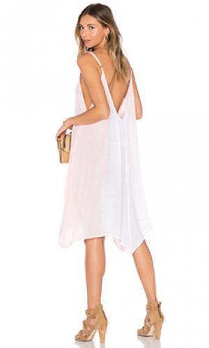 Макси платье с фестонами scallop Bettinis. Цвет: персиковый