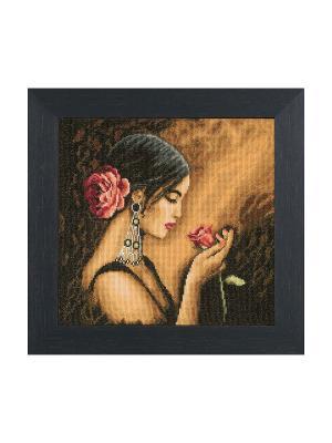 Набор для вышивания Spaanse vrouw /Испанская девушка/ 30*30см Vervaco. Цвет: черный, коричневый, бежевый, розовый