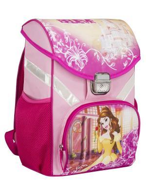 Ранец (рюкзак) профилактический с эргономической спинкой Disney Princess. Цвет: светло-желтый, розовый, фуксия
