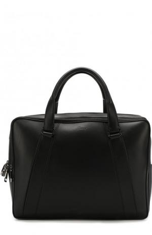 Кожаная сумка для ноутбука с плечевым ремнем Brioni. Цвет: черный