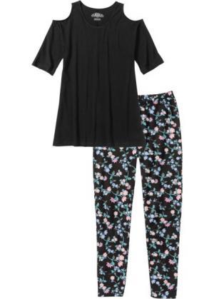 Пижама-капри (черный/розовая пудра с рисунком) bonprix. Цвет: черный/розовая пудра с рисунком