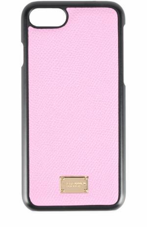 Кожаный чехол для iPhone 7 Dolce & Gabbana. Цвет: розовый
