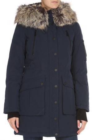 Полуприлегающая куртка с отделкой из меха BCBG. Цвет: 410, navy