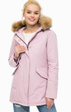 Розовый хлопковый пуховик с капюшоном CANADIAN. Цвет: розовый