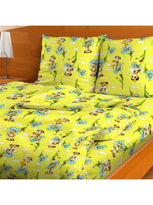 Комплект постельного Тигренок, 1,5-спальный Letto. Цвет: желтый, голубой, оранжевый