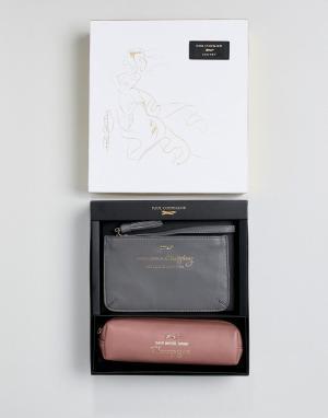 Paul Costelloe Подарочный набор из розового кожаного пенала с надписью и серого кошел. Цвет: розовый