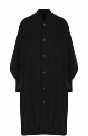 Однотонное пальто свободного кроя с манжетами Yohji Yamamoto. Цвет: черный