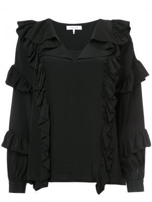 Ruffled v-neck blouse Frame Denim. Цвет: чёрный