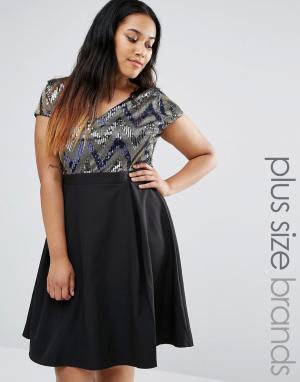 Paper Dolls Plus Платье для выпускного с пайетками на лифе. Цвет: мульти