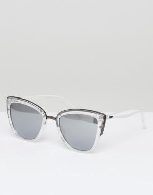 Quay Australia Солнцезащитные очки кошачий глаз в прозрачной оправе My. Цвет: серебряный