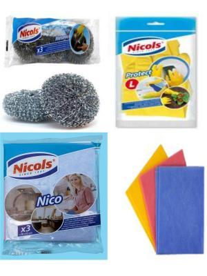 Набор Николс  Салфетки для дома Nico+Перчатки Madame + Мочалки поcуды Metanic 3 шт. Nicol's. Цвет: голубой, желтый, розовый