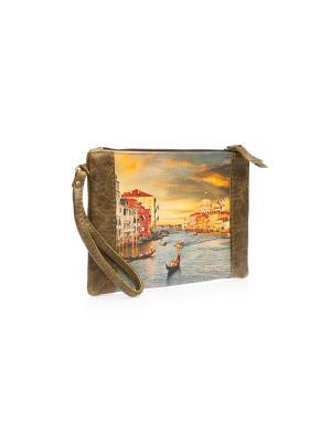 Косметичка-клатч Венеция Eshemoda. Цвет: зеленый