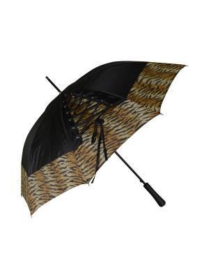 Зонт-трость с шнуровкой Дерево Счастья. Цвет: черный