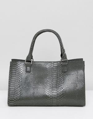 Glamorous Структурированная серая сумка-тоут с отделкой под крокодиловую кожу Gl. Цвет: серый