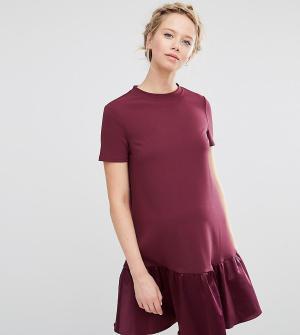 ASOS Maternity Цельнокройное платье для беременных с баской. Цвет: красный