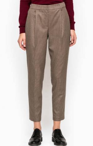 Укороченные брюки коричневого цвета Stefanel. Цвет: коричневый