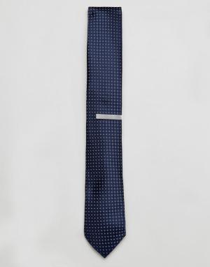 Jack & Jones Подарочный набор с галстуком и зажимом для галстука. Цвет: темно-синий