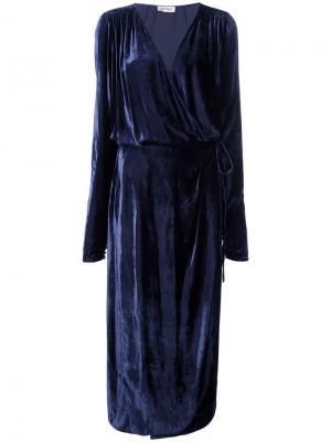 Драпированное платье миди с V-образным вырезом Attico. Цвет: синий