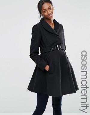ASOS Maternity Короткое приталенное пальто для беременных с воротником-трубой Ma. Цвет: черный