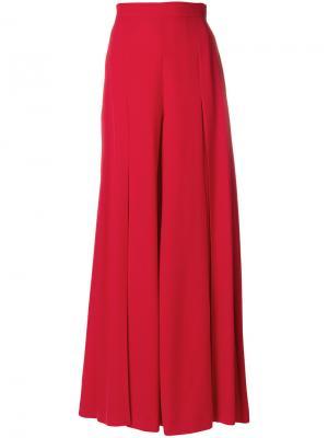 Расклешенные классические брюки Sara Battaglia. Цвет: красный