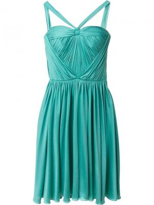 Плиссированное платье Christian Dior Vintage. Цвет: синий