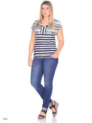 Блузка MOLITO. Цвет: темно-синий, белый