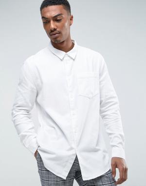 Weekday Белая джинсовая рубашка. Цвет: белый