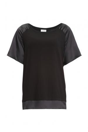 Блуза из хлопка и модала с шелковыми вставками 149514 Les Tendances. Цвет: черный