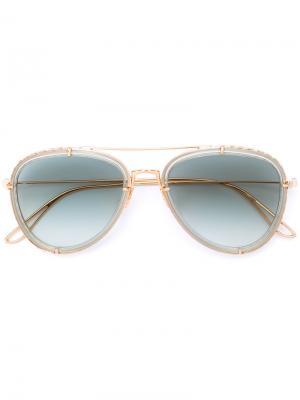 Солнцезащитные очки-авиаторы Elie Saab. Цвет: металлический