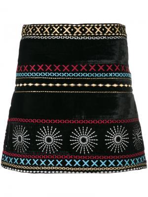 Бархатная юбка с вышивкой Dodo Bar Or. Цвет: чёрный