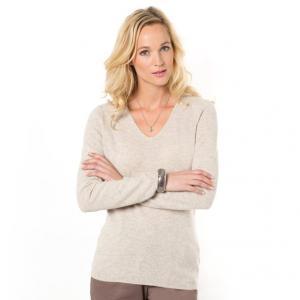 Пуловер, 100% кашемира ANNE WEYBURN. Цвет: бежевый экрю,розовая пудра,черный