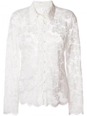 Блузка с кружевной вышивкой Olvi´S. Цвет: белый