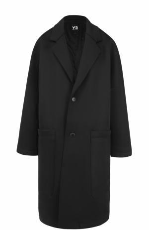 Однобортное пальто свободного кроя Y-3. Цвет: черный