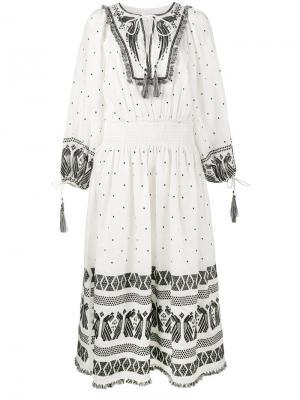 Декорированное платье с длинными рукавами Zimmermann. Цвет: белый