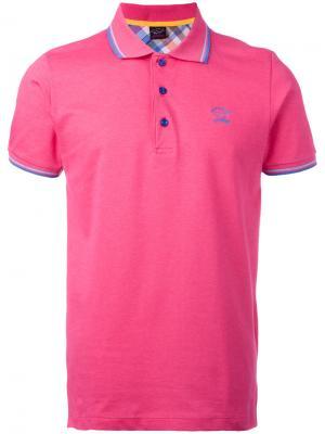 Футболка-поло с вышитым логотипом Paul & Shark. Цвет: розовый и фиолетовый