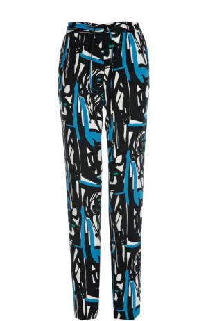 Прямые брюки с регулируемым поясом и ярким принтом Gerard Darel. Цвет: синий