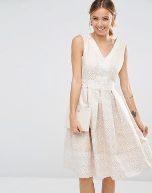 Closet London Жаккардовое платье в горошек с V‑образным вырезом. Цвет: золотой
