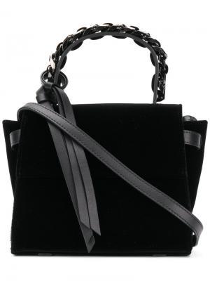 Мини сумка-тоут с цепочной деталью Elena Ghisellini. Цвет: чёрный