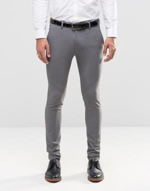 ASOS Серые супероблегающие брюки. Цвет: серый