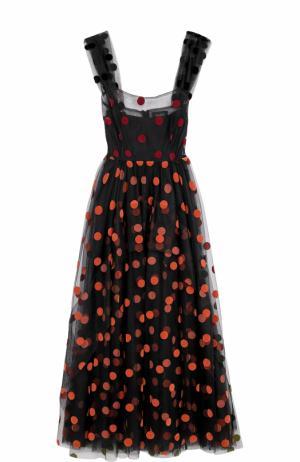Кружевное платье-миди в горох Isa Arfen. Цвет: разноцветный