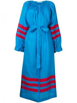 Платье шифт в полоску с вышивкой Vita Kin. Цвет: синий