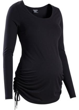 Мода для беременных: футболка с длинным рукавом (темно-бирюзовый меланж) bonprix. Цвет: темно-бирюзовый меланж