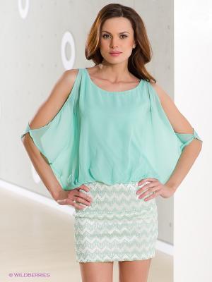 Платье Lette. Цвет: светло-зеленый, белый