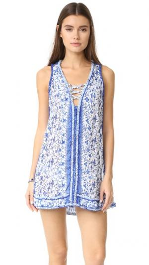 Платье Bibi Poupette St Barth. Цвет: голубой, белый